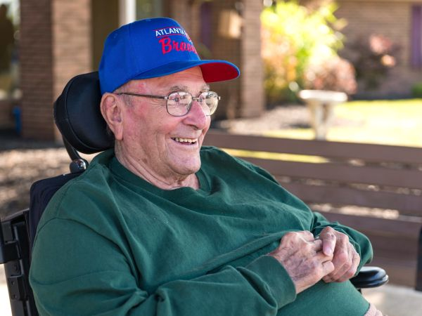 Rehabilitation Resident Sitting Outside | Kingston of Ashland