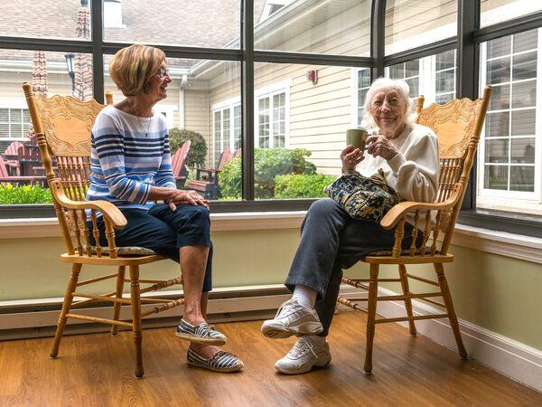 Family Member Visiting at Kingston's Memory Care